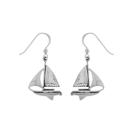 Sterling Silver Nautical Sailboat Dangle Earrings