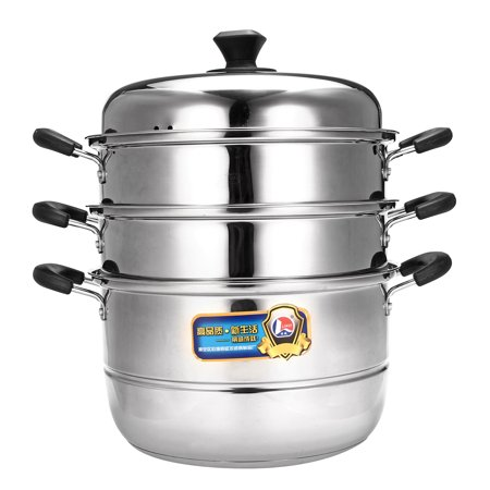 Stainless Steel 3 Tier Steamer Pot Cookware Avail Steam Kitchen Cooking 28/32cm ()