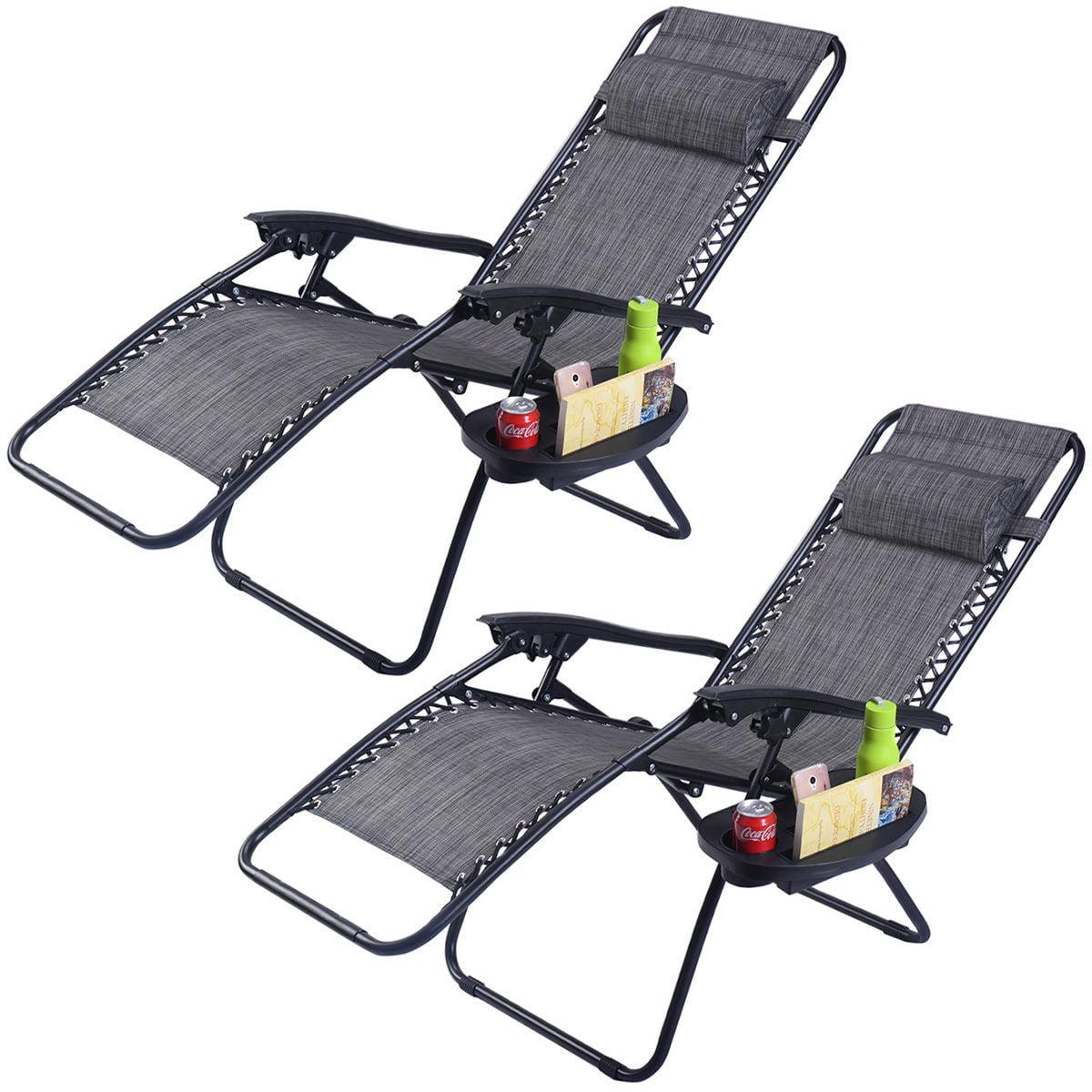 2PC Folding Zero Gravity Reclining Lounge Chairs Beach Patio W Utility Tray