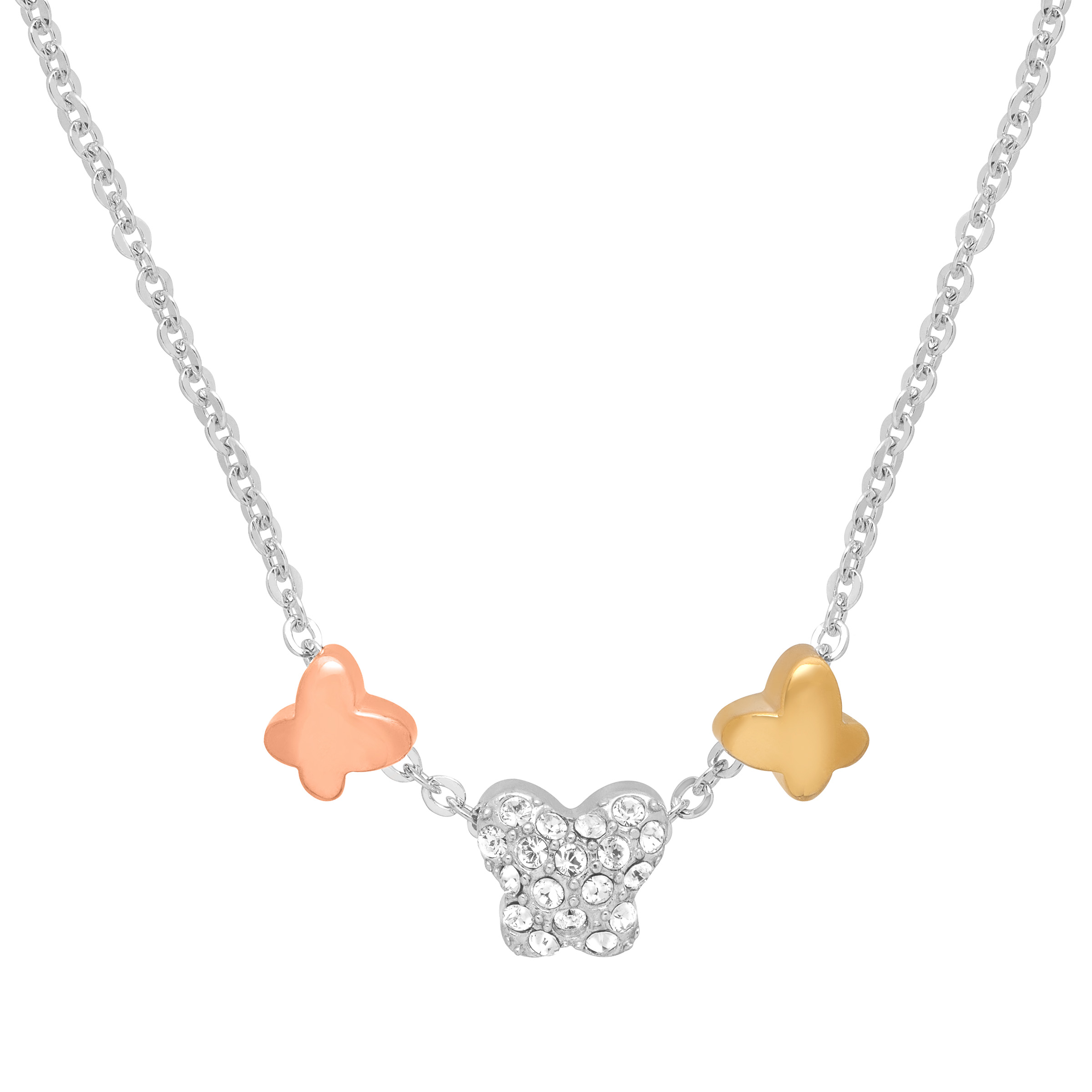 Crystaluxe Butterfly Trio Necklace with Swarovski Crystals in Sterling Silver & 14kt Gold over Bronze