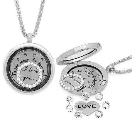 I Love You To The Moon   Back Locket Silver Tone Necklace