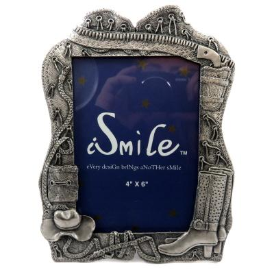 Pewter picture frame with assorted cowgirl accessories throughout PF116