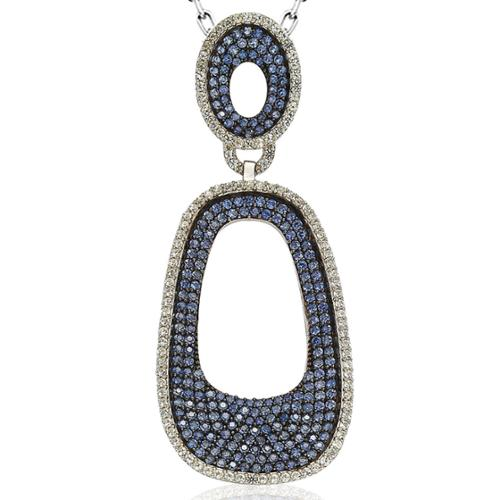 Suzy Levian  Sterling Silver 6 1/10ct TGW Sapphire Pave Pendant with Chain - Blue