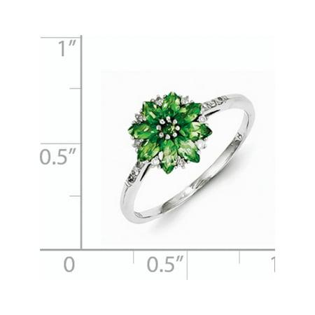 Sterling Silver Rhodium Diamond & Tsavorite Garnet Ring - image 1 of 2