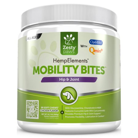 Zesty Paws Hip & Joint Support Chewables for Dogs with Hemp Oil & Glucosamine, 90 Soft Chews