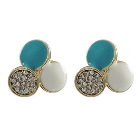 Dlux Jewels Turquoise & White Enamel with White Crystals Three 10 mm Circles Design & Gold Plated Brass Post Earrings, 0.68 in. - image 1 of 1
