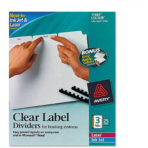 Avery Index Maker Clear Label Unpunched Dividers with White Tabs