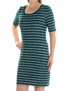 KENSIE Womens Blue Striped Short Sleeve Jewel Neck Mini Body Con Dress  Size: M