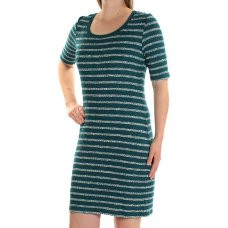KENSIE Womens Blue Striped Short Sleeve Jewel Neck Mini Body Con Dress  Size: M