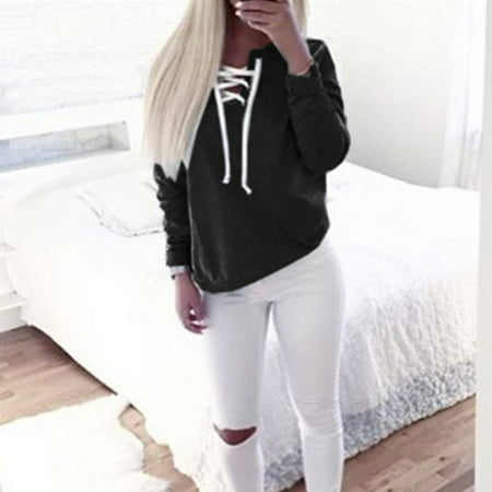 Polyester Leisure Suit (Leisure Pullover Tops for Women, Fashion Women Hoodie Sweatshirts Long Sleeve Casual Blouse, Black Blouse Jumper Coat ,)