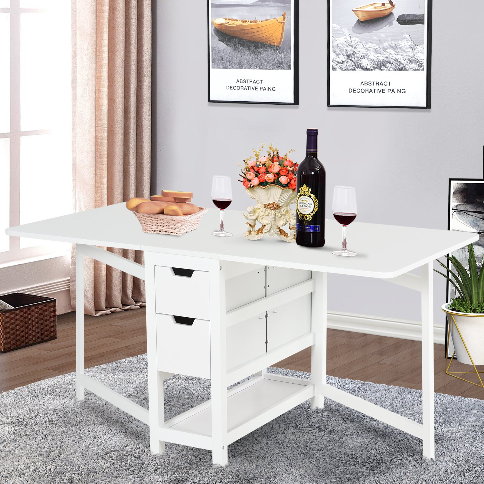 Expandable Dining Table Fold Tabletop White 1 5m 0 59 12 W Drawer Shelf Walmart Canada