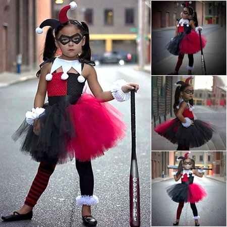 New Halloween Costumes 2019 Ideas (2019 New Halloween Girl Clown Cosplay Dress Kids Knitted Tutu Dress Girls Cosplay Performance Costume Without)