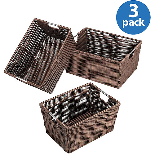 Whitmor Rattan-Style Storage Baskets, Set of 3