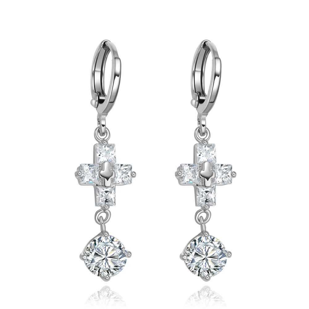 Gorgeous and Unique Holy Cross and Round Stud Snow White Sparkling Crystals Silver-Tone Fashion Earrings