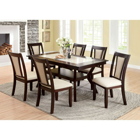 Furniture of America Mullican Display Top Dining Table - Dark Cherry & Ivory