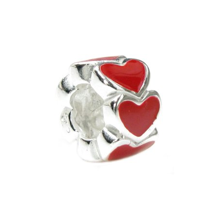 (Queenberry Sterling Silver Endless Love Red Heart European Style Bead Charm)
