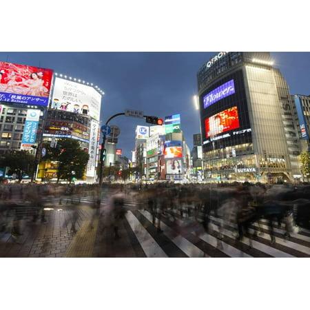 Neon Signs and Pedestrian Crossing (The Scramble) at Night, Shibuya Station, Shibuya, Tokyo, Japan Print Wall Art By Stuart Black (Tokyo Shibuya Halloween)