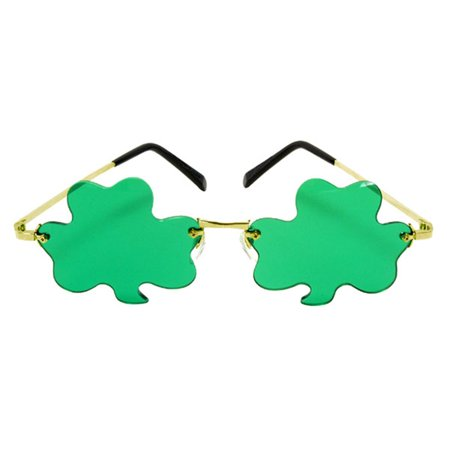 Shamrock Rimless Gold & Green Adult Costume Glasses - Shamrock Costume