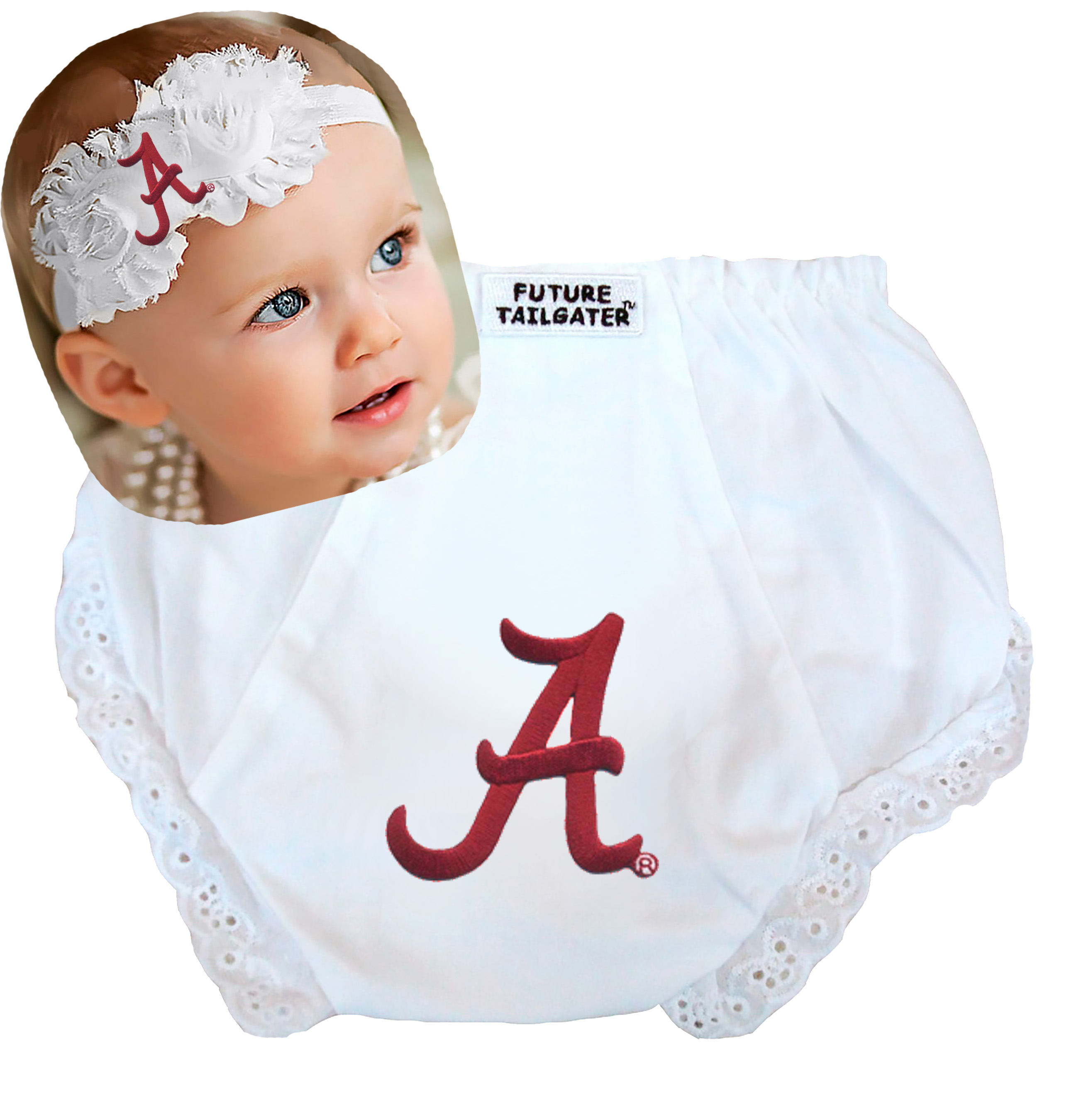 Alabama Crimson Tide Baby Diaper Cover and Shabby Flower Headband