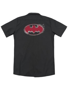 Batman DC Comics Hardcore Noir Bat Logo Adult Black Back Work Shirt Tee