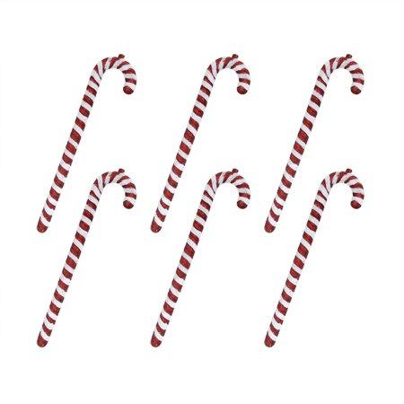 """6ct Peppermint Twist rouge et blanc Incassable de canne de sucrerie de Noël Ornements 16"""" - image 1 de 1"""
