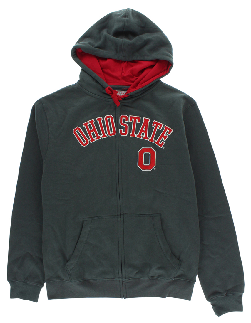 Ohio State Varsity Authentic Apparel Mens Cotton Full Zip Hoodie Charcoal by