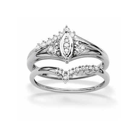 1/10 TCW Round Diamond Solid 10k White Gold Marquise-Shaped Bridal Engagement Ring Set