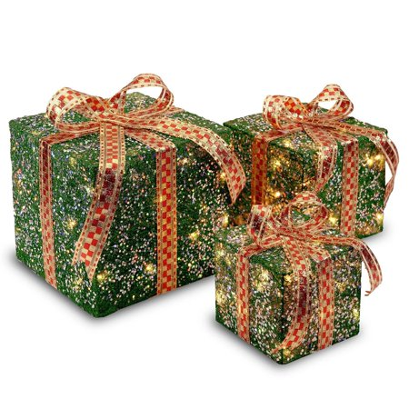 Set Of 3 Green Christmas Decorative Gift Boxes Table Toppers Clear Lights 10