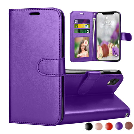 Kickstand Case - iPhone XR Case, 2018 iPhone XR Wallet Cover, iPhone XR PU Leather Cases, Njjex [Wrist Strap] Flip Folio [Kickstand ] PU leather wallet case with 3 ID&Credit Card Pockets For iPhone XR 6.1