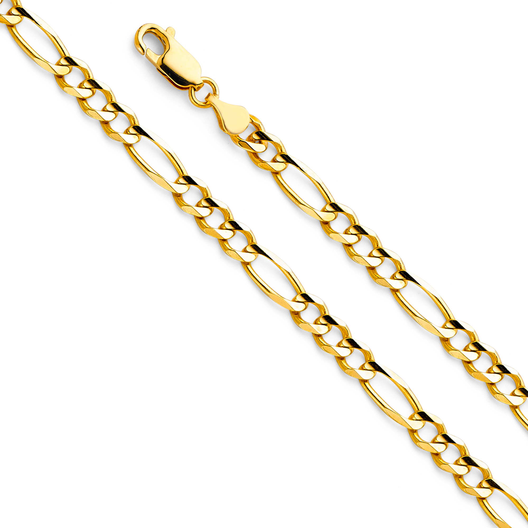 FB Jewels 14K Yellow Gold Lobster Claw Clasp Figaro Chain Necklace