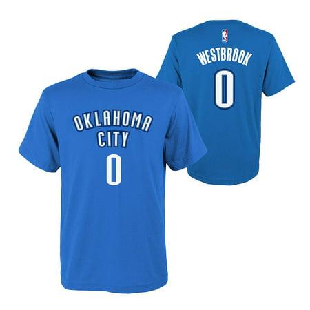 Oklahoma City Thunder Nba Russell Westbrook Youth Flat Basic Name   Number Tee  Royal  M