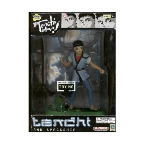 Tenchi and Spaceship Light-up PVC Figurine Set, The light on the spaceship lights up when the button is... by