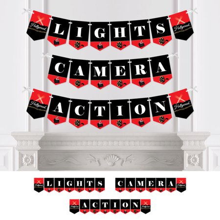 Red Carpet Hollywood - Movie Night Party Bunting Banner - Party Decorations - Lights, Camera, Action](Cheap Hollywood Decorations)