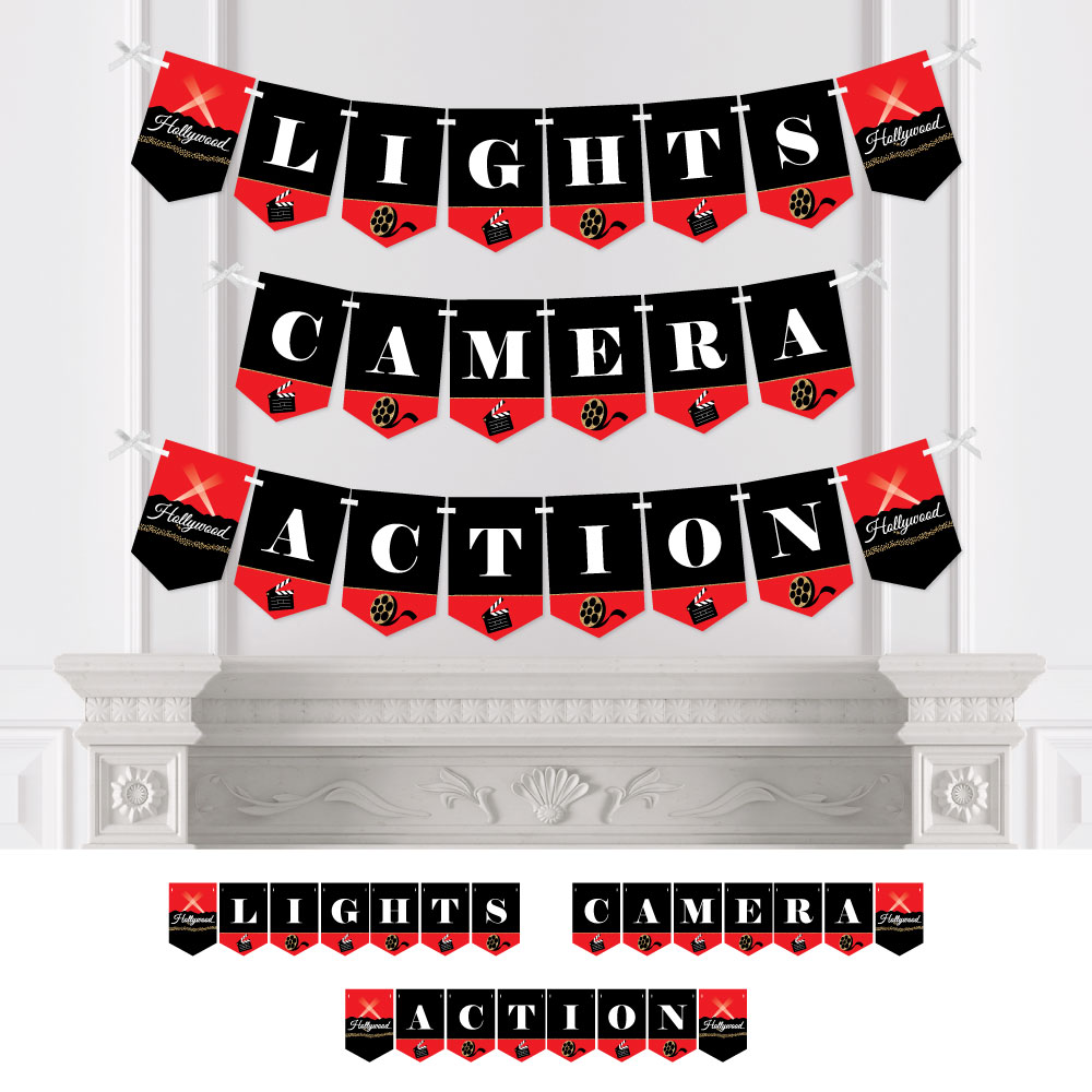 Red Carpet Hollywood - Movie Night Party Bunting Banner - Party Decorations - Lights, Camera, Action