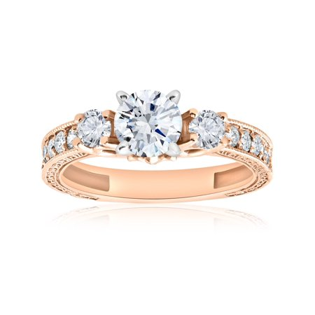- 1 ct Vintage Real Diamond 3 Stone Engagement Ring 14K Rose Gold Antique Round Cut