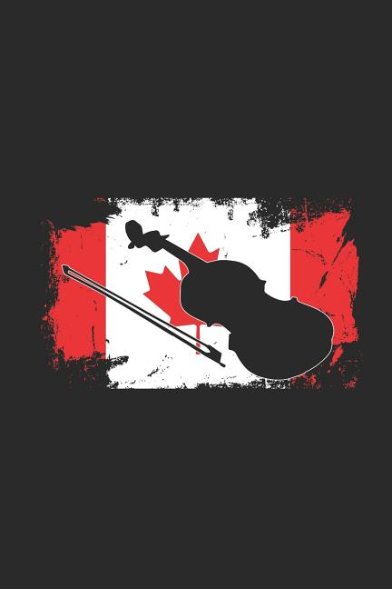 canada flag - violin  graph paper journal  6 x 9 - 120 pages   5 squares per inch
