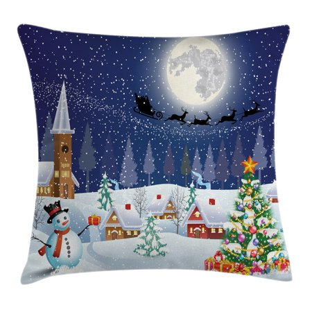 Christmas Decorations Throw Pillow Cushion Cover, Winter Snowman Xmas Tree Santa Sleigh Church Moon Gifts Snow Stars, Decorative Square Accent Pillow Case, 18 X 18 Inches, Blue White, by Ambesonne (Church Accent)