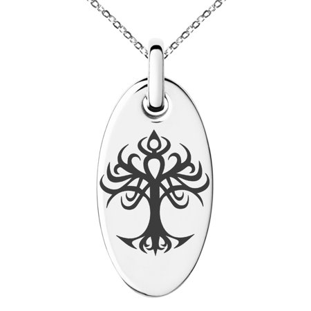 Stainless Steel Tribal Tree of Life Engraved Small Oval Charm Pendant