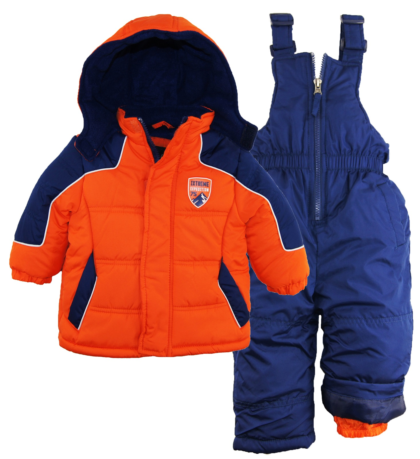 iXtreme Baby Boys Color Block Snowsuit Puffer Winter Jacket Ski Bib
