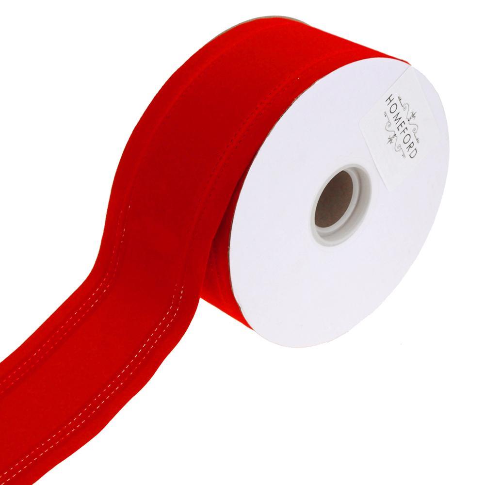 Waterproof Velvet Dual Christmas Ribbon Wired Edge, Red, 2-1/2-Inch, 25-Yard
