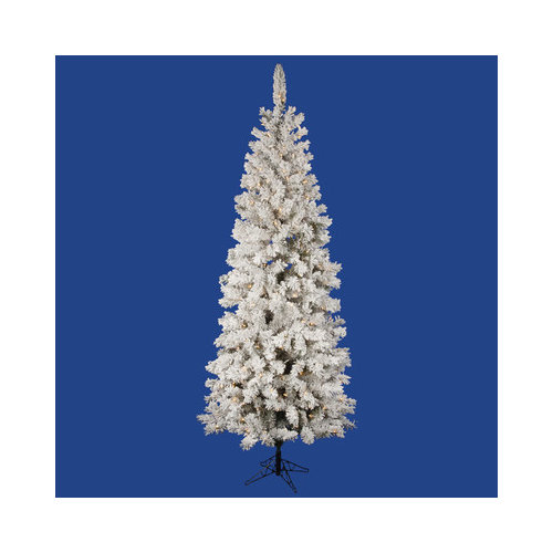 Vickerman Flocked Pacific Pine 7.5' White Artificial Pencil Christmas Tree with 400 Clear Lights with Stand