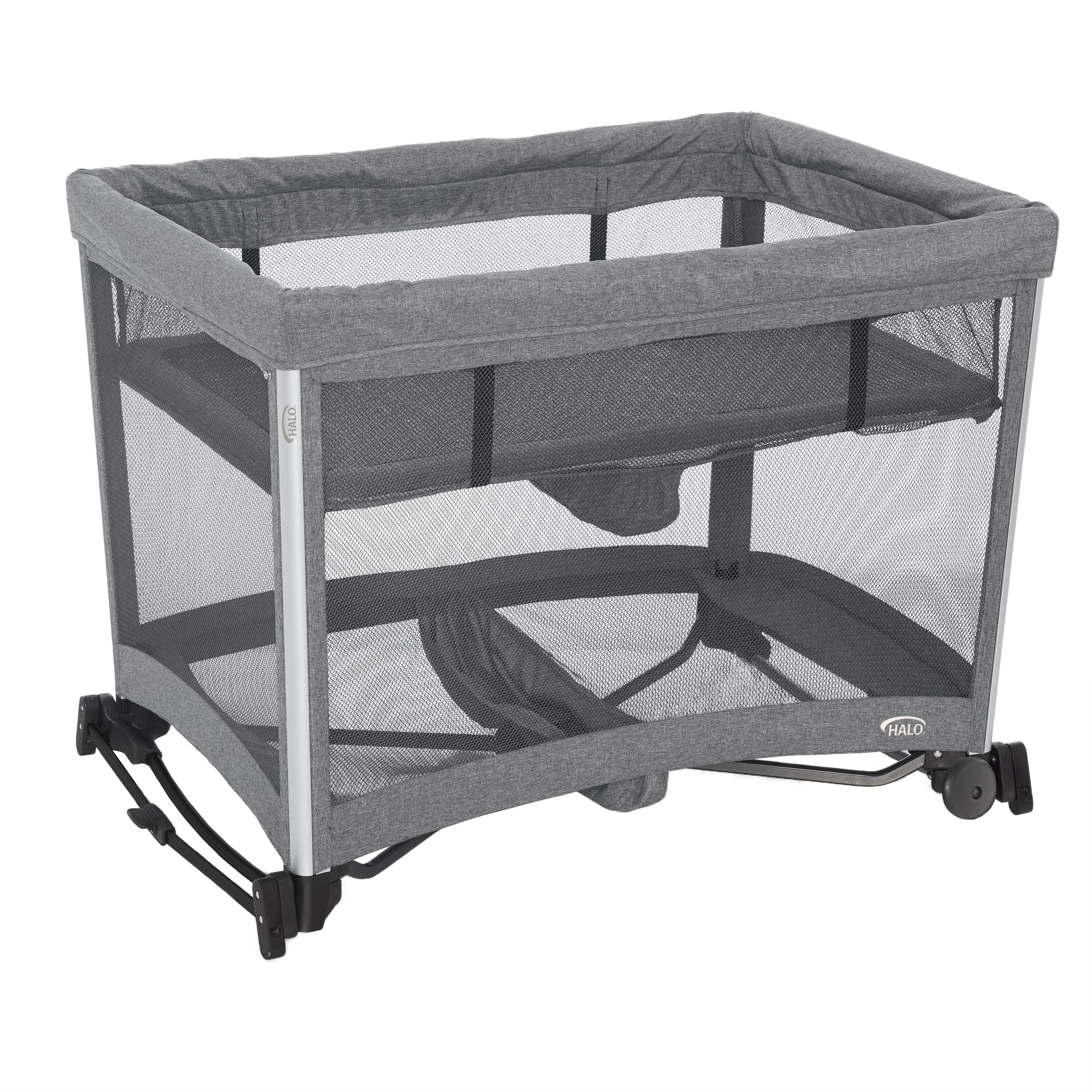 HALO 3-in-1 DreamNest Play Pen with Rocking Bassinet and Breathable Mesh Mattress by HALO