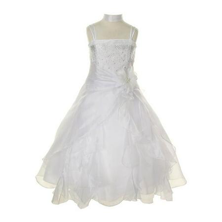 Cinderella Couture Little Girls White Crystal Organza Cascade Ruffle Dress 2-6 (Cinderella Girls Dresses)