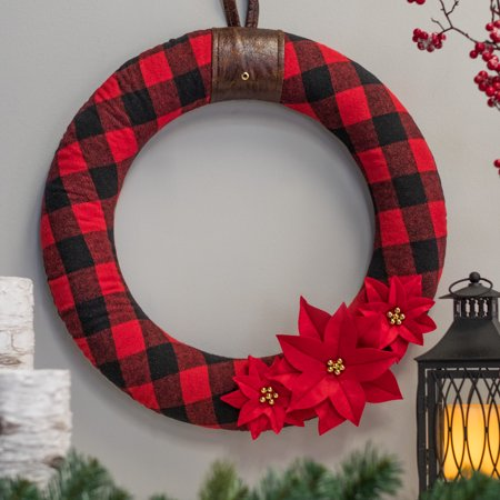 Belham Living Buffalo Plaid Felt Christmas Wreath, 22