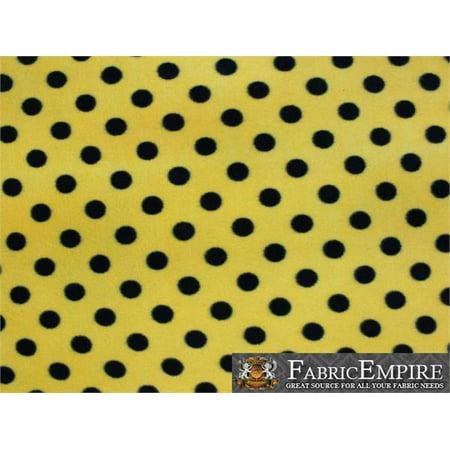 Fleece Printed Fabric SMALL POLKA DOTS BLACK YELLOW / 58