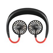 Tuscom Portable USB Rechargeable Neckband Lazy Neck Hanging Style Dual Cooling Fan Mini Sport Fan Wearable Fan 3 Speeds,360 Degree Adjustment for Home Office Outdoor Travel