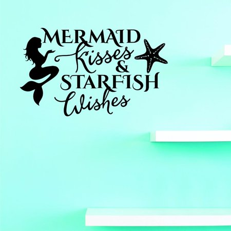 Custom Decals Mermaid Kisses & Starfish Wishes Wall Art Size: 10 X 20 Inches Color: - Wish Size Chart