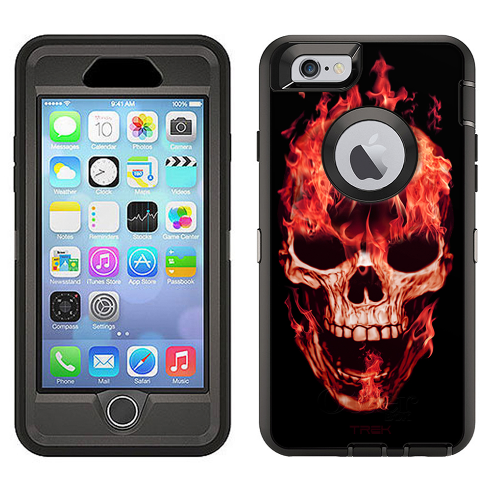SKIN DECAL FOR Otterbox Defender Apple iPhone 6 Plus Case - Red Flaming Skull on Black DECAL, NOT A CASE