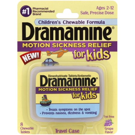 Dramamine for Kids Chewable Tablets Grape Flavor 8 ea Pack of 6