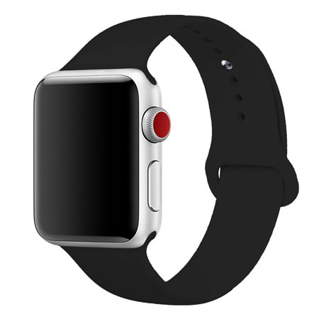 Band M - Apple Watch Band 42mm - Sport edition for Apple iWatch Series 1, Series 2, Series 3 - replacement silicone sports bands - Black - S/M